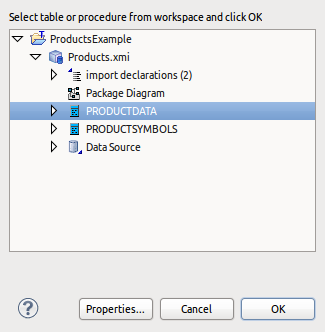 Preview Data Select Table Dialog