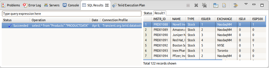 Preview Data SQL Results
