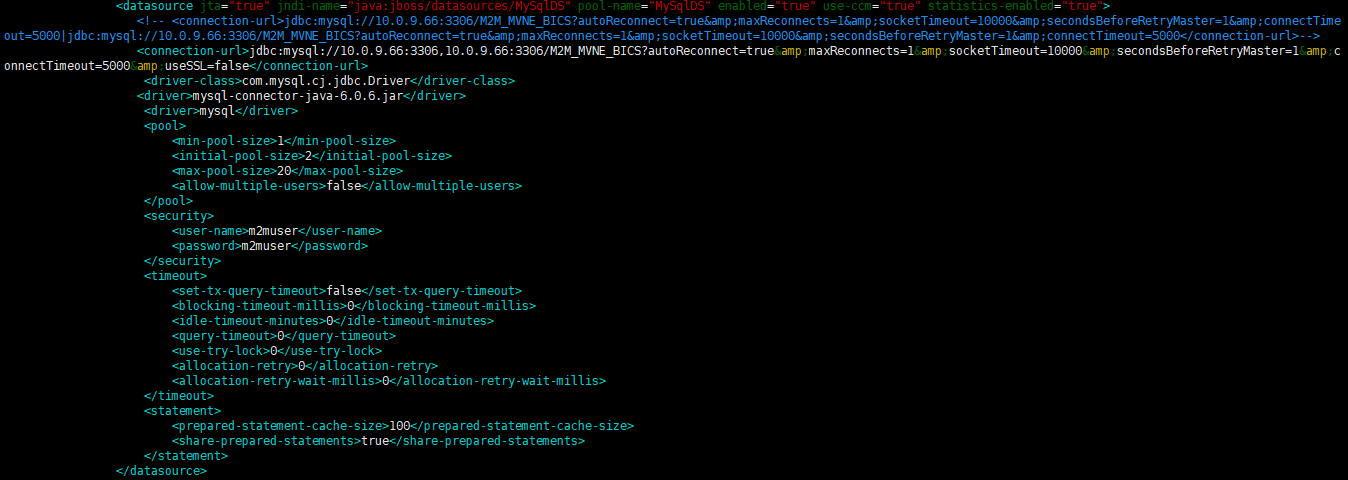 standalone.xml DB configuration